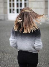 sweater,ombre,fluffy,h&m,fuzzy sweater,ombre sweater,grey,black,white