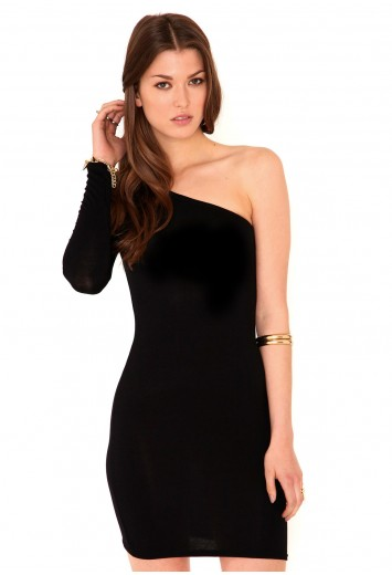 Amity One Shoulder Long Sleeve Mini Dress - Dresses - Missguided
