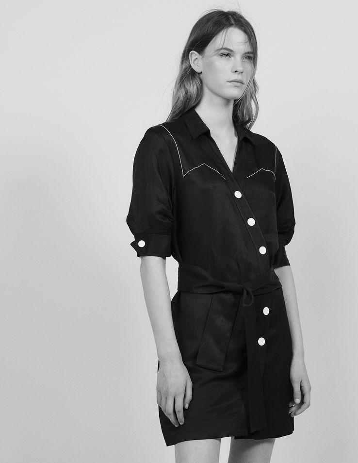 Short Dress With Asymmetrical Buttoning
