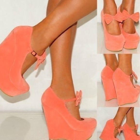 shoes salmon wedges