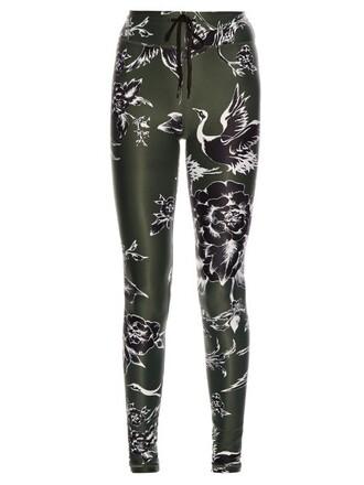 leggings print green pants