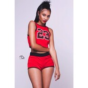 skirt,shorts,t-shirt,23,shirt,socks,jersey,blouse,top,red,sports shorts,red top,crop tops