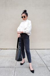 the fancy pants report,blogger,sweater,jeans,sunglasses,jewels,white sweater,shoulder bag,ballet flats