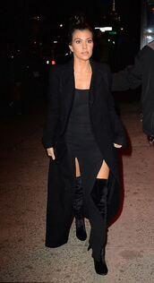 dress,slit dress,all black everything,kourtney kardashian,coat,fashion week 2016,boots,shoes,NY Fashion Week 2016