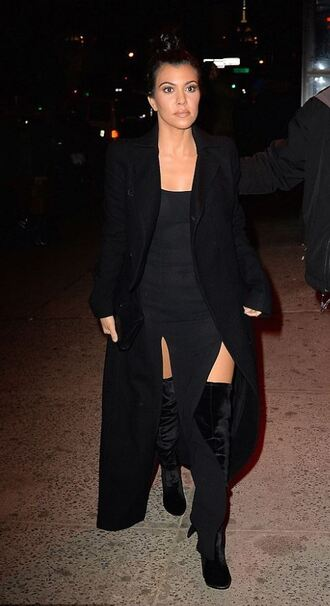 dress slit dress all black everything kourtney kardashian coat fashion week 2016 boots shoes ny fashion week 2016