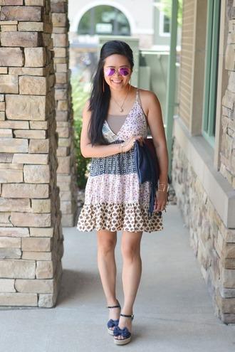 morepiecesofme blogger sunglasses jewels bag dress underwear shoes mini dress clutch summer outfits sandals wedges