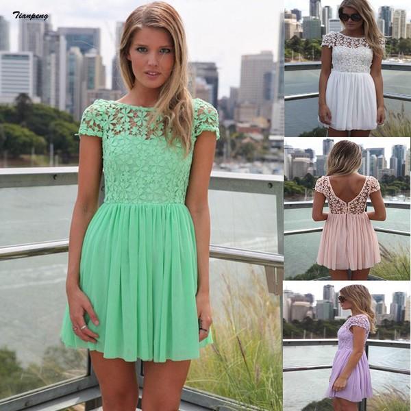 dress summer dress lace dress mini dress short sleeve
