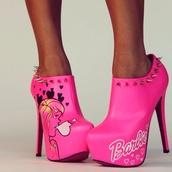 shoes,barbie,pink,barbie pink,barbie pink heels,ankle boots,heels,ankle boot stilettos,barbie heels