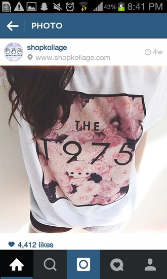shirt the 1975 tshirt the 1975 pink floral shirt white shirt