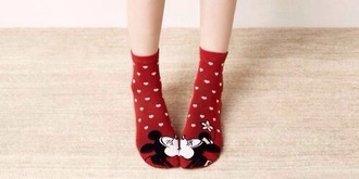 shoes socks mickey mouse red heart minnie mouse disney kiss