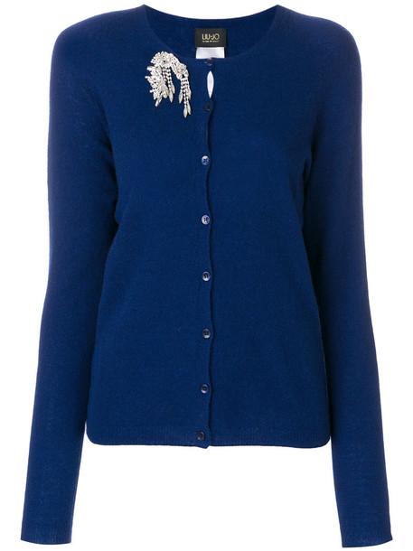 cardigan cardigan women embellished blue wool sweater