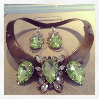 jewels necklace green metal big luxurious diamonds earrings set