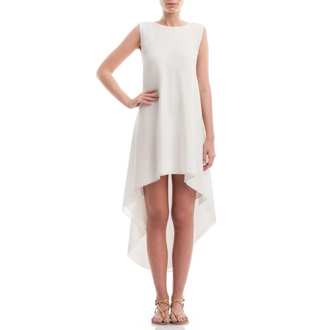 Asymmetric Crepe de chine silk summer dress - Laura Hincu Shop