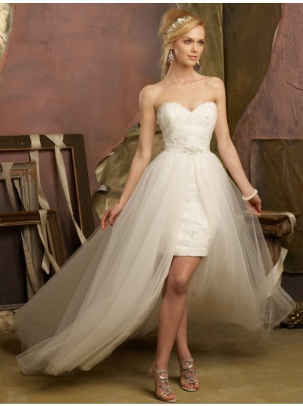 Wedding Dress Removable Lace Overlay : Lace bridal dress pieces a line long wedding dresses with detachable