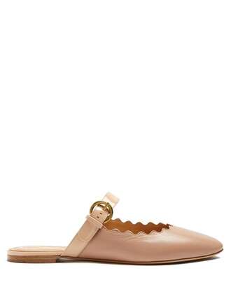 backless loafers leather nude shoes