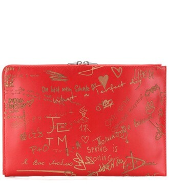 leather clutch clutch pouch leather red bag