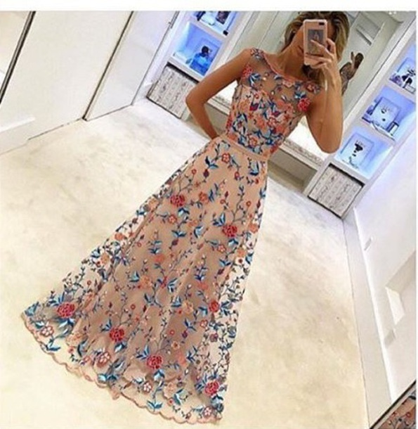 dress floral maxi dress pretty delicate prom homecoming pink long dress sweet 16 formal fancy