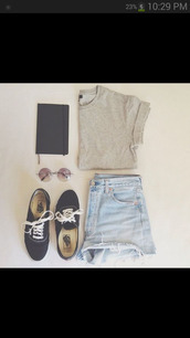 sunglasses,shirt,shorts,brown,short sleeve,basics,t-shirt,denim shorts,grey,shoes,vanes.com