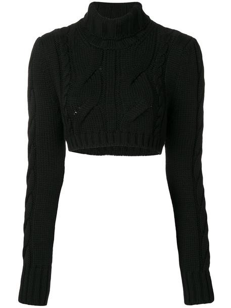 Pierre Balmain - chunky knit cropped jumper - women - Merino - 38, Black, Merino