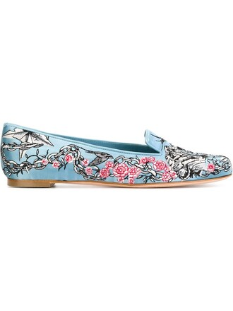 embroidered women slippers leather blue shoes
