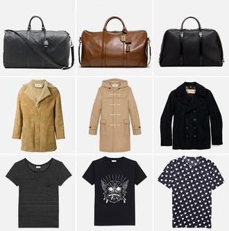 bag brown bag black bag brown coat brown coat fake fur winter black coat printed shirt black shirt white shirt