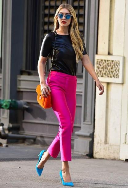 pants pink pants pink capri pants top black top bag orange bag pumps pointed toe pumps blue pumps sunglasses mirrored sunglasses blue sunglasses spring outfits gigi hadid celebrity