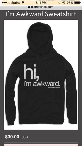 andrea russett hoodie quote on it