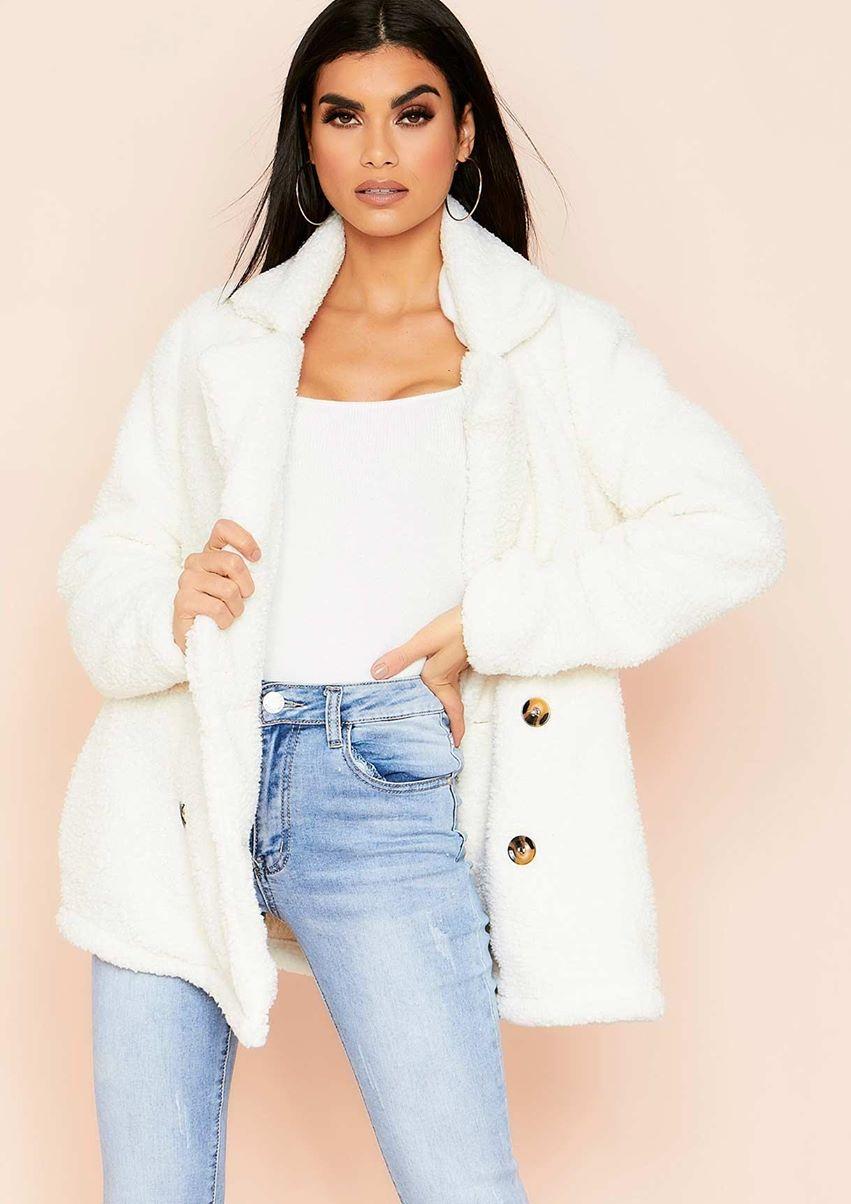 Martha Cream Teddy Faux Fur Coat