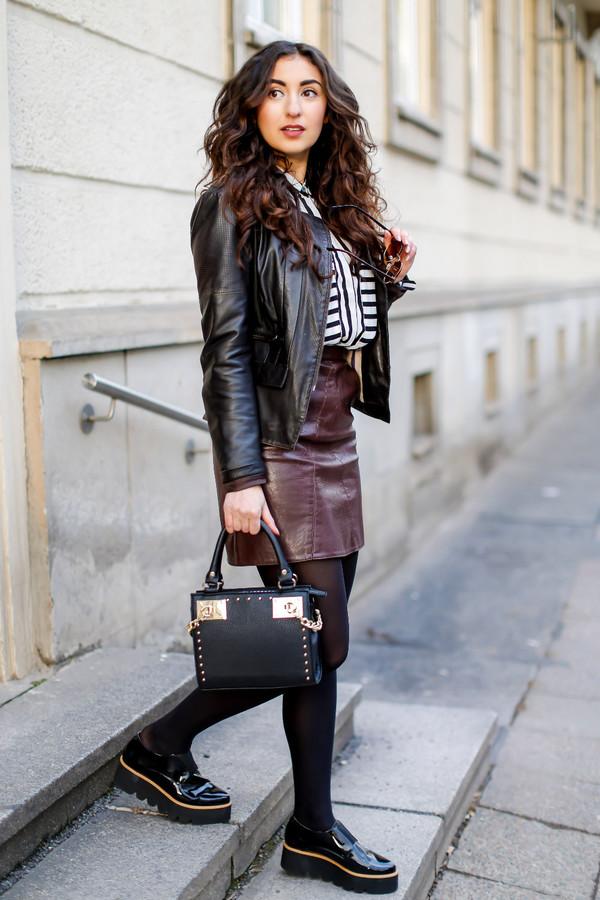 Shoes: samieze, blogger, leather jacket, burgundy skirt, leather ...