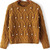 Yellow Long Sleeve Beaded Cable Knit Sweater - Sheinside.com