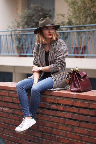 jane's sneak peak blogger jeans fedora blazer leather bag