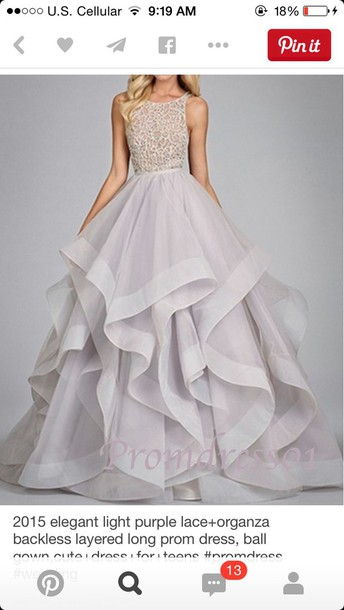 dress light purple organza prom dress layered long elegant