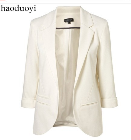 EAST KNITTING haoduoyi 001 Free Shipping Women Blazers Fashion brand Coat Jacket,Lady plus size Seven Sleeve Solid Suits XXL-in Blazer & Suits from Apparel & Accessories on Aliexpress.com