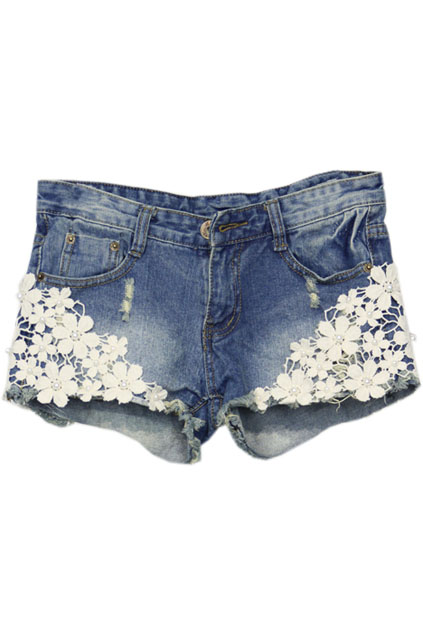 Lace Pocketed Denim Shorts at HelloShoppers