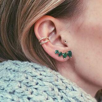 jewels multiple piercings earrings ear cuff targus green
