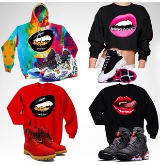 jacket hoodie black pink lipstick lips shoes sneakers red rainbow gold jordans timberlands crop tops cropped sweater crewneck lip print