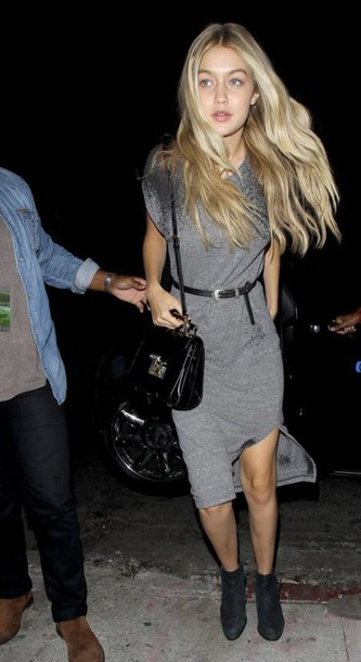 gigi hadid grey dress slit dress dress