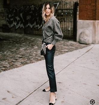 sweater metallic grey sweater black pants leather pants bag pants crossbody bag shoes mid heel pumps slingbacks