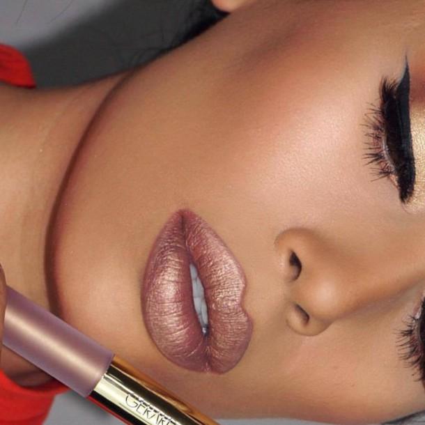make-up metallic lipstick lipstick lips nude lipstick eyeliner eye makeup eye shadow matte