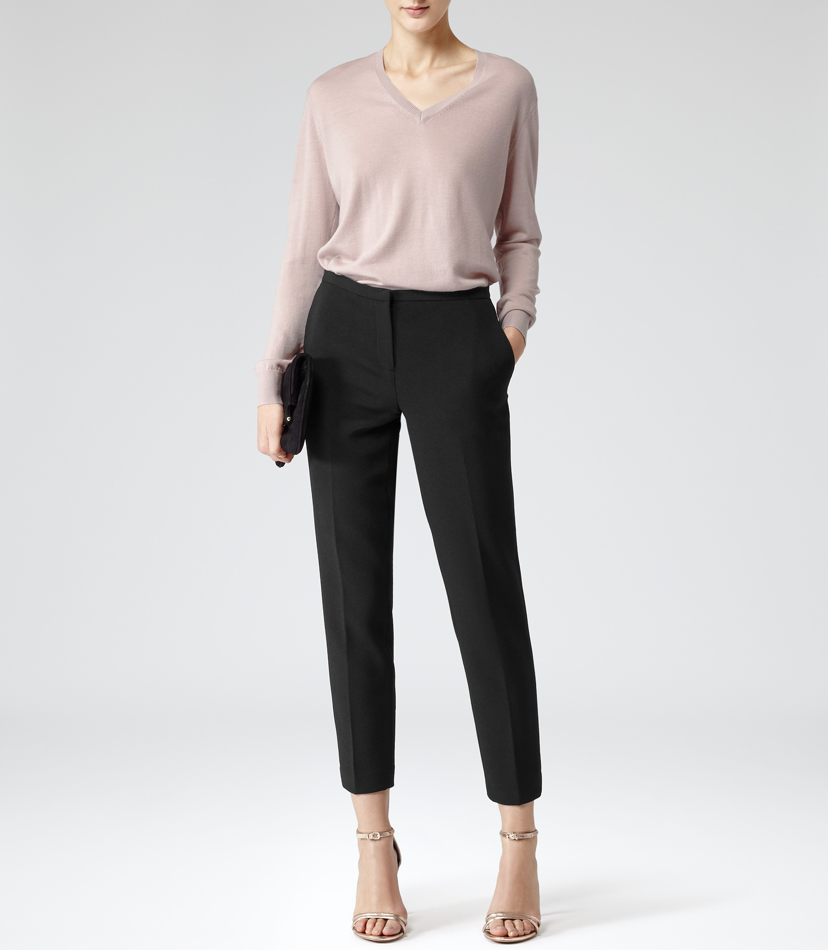 Reed Shell Pink Stitch Detail V-neck Jumper - REISS