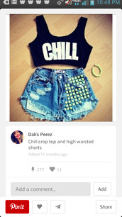 shorts,studded high waist shorts,chill,crop tops