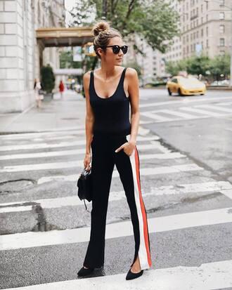 pants tumblr black pants wide-leg pants side stripe pants track pants top black top tank top bag