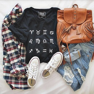 jacket plaid plaid shirt jeans shirt bag