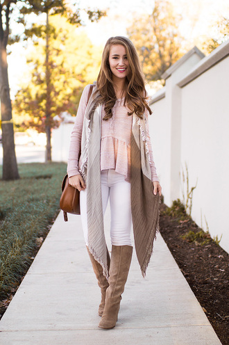 a lonestar state of southern blogger shirt jeans scarf shoes bag fall outfits knee high boots brown bag pink top