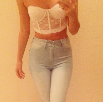 top crop tops corset lace white forever 21