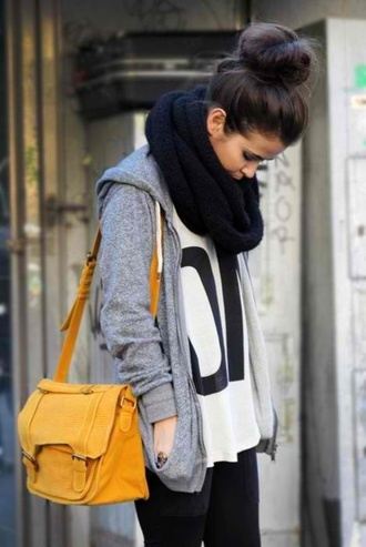 sweater clothes bag shirt knitted scarf infinity scarf black scarf white t-shirt t-shirt grey sweater scarf cute sweater weather big scarf skinny girl fashion jacket