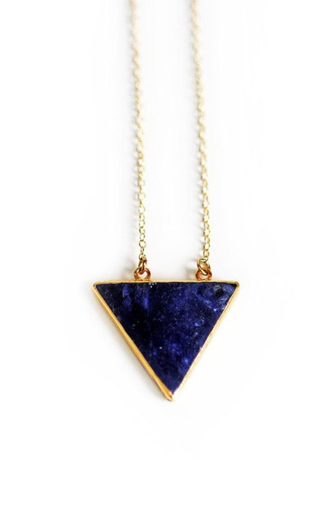 triangle necklace jewels indigo necklace geometric necklace triangle pendant