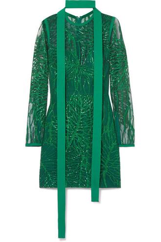 dress mini dress mini embellished green