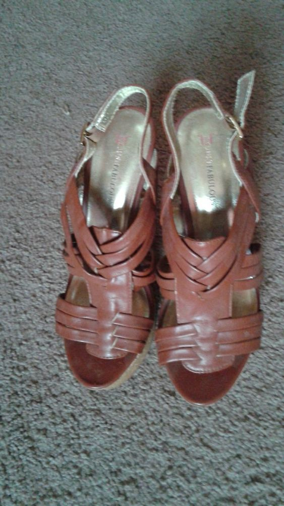 women's justfab brown wedges size 8
