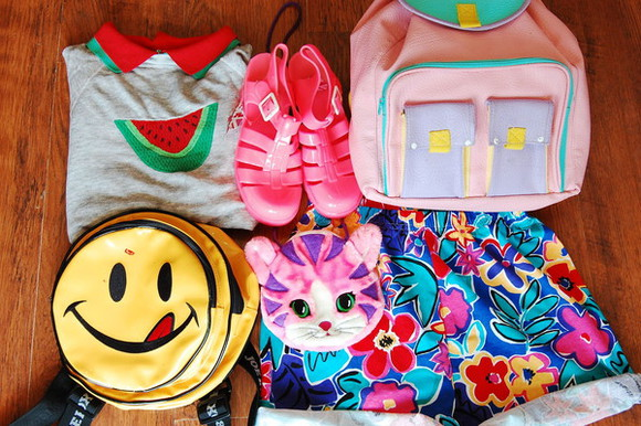 smiley face bag rainbow multicolored backpack shirt watermelon watermelon shirt smiley face backpack jelly shoes pink blue shorts shoes